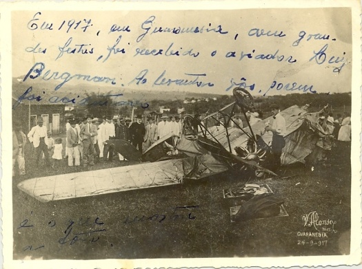Em 1917, com grandes festas, foi recebido o aviador Luiz Bergmam. Ao levantar vôo, porém foi acidentado.