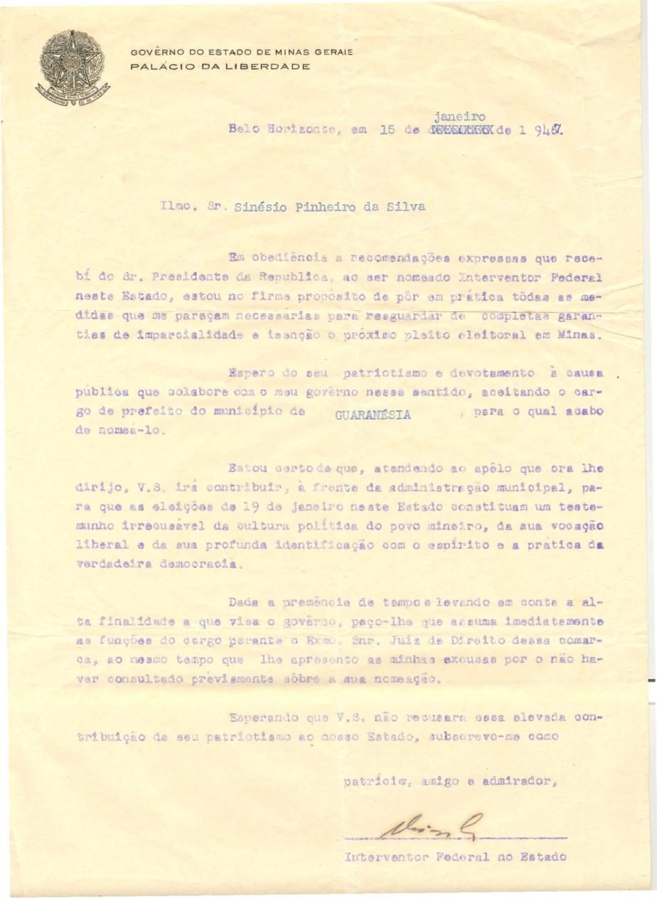 Nomeação de Synésio para prefeito