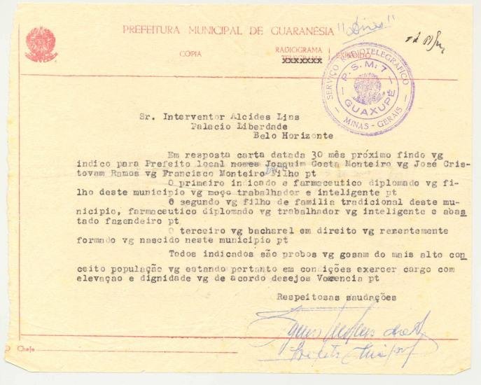 Telegrama indicando nomes para prefeito